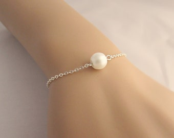 Pearl Bracelet, Single Pearl Bracelet, Bridal Pearl Jewelry, Bridesmaid Gifts, Bridesmaid Bracelet, British Seller UK, Pearl Jewelry