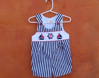 Vintage Baby Infant Red White Blue Striped Nautical Onesie Jumper Romper Overalls. 18 Months. Sailboats Anchor