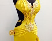 ACT FAST!!!   Gold Dance Dress on Sale only one in my shop   Gold Dance Latin  Dresses