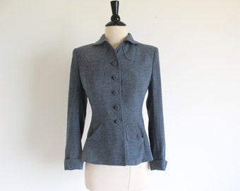 Vintage 40s Gray Wool Jacket, 1940 Women's Suit Jacket