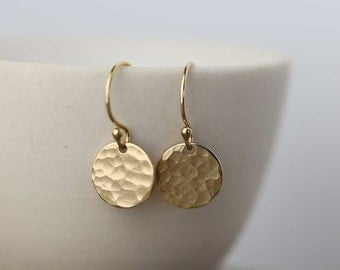 Tiny Gold Earrings Dangle Drop Earrings, Summer Outdoors Party Hammered Gold Filled Earrings Jewelry, Handmade by Burnish