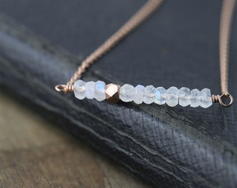 Minimalist Rose Gold Moonstone Necklace / Jewelry by burnish / Natural White Gemstone Bar Necklace with 14K Rose Gold Filled Chain