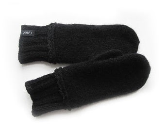 Hand-knitted and felted mittens