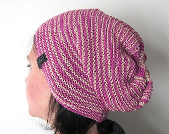 knit slouchy beanie hat for men or women and teen