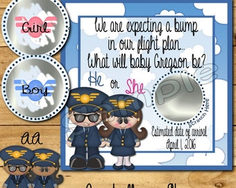 Gender Reveal scratch off cards Airline Baby Pregnancy announcement cards Gender announcement cards Baby boy Baby girl AA 12 Precut Printed
