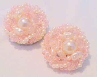 Vintage Pale Pink and White Faux Pearl Cluster Clip Earrings