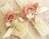 Wedding Garter, Heirloom Rose, Garter Set with Toss Garter Heirloom Rose and Tea Stained Ivory with Rhinestones and Pearls