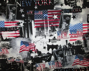 New York City Land Marks Flag NYC Cotton Fabric Fat Quarter or Custom Listing