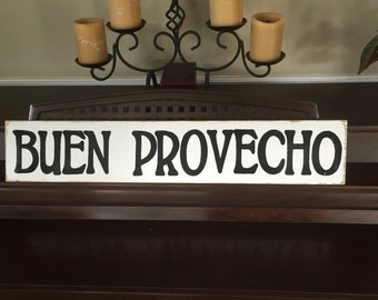 BUEN PROVECHO Spanish La Cocina Kitchen Cooking Chef Foodie Dining Room Sign Plaque Food Wooden Hand Painted You Pick Color