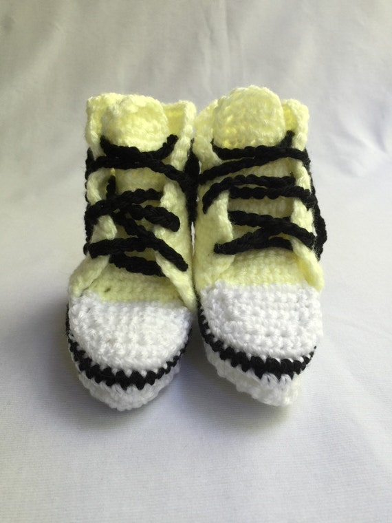 Bright Yellow Crocheted High Top Baby Booties
