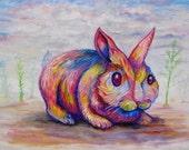 Rainbow Bunny 2 oil on Hardboard 9x12 by Sam Foote