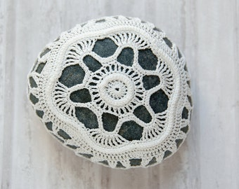 Crochet covered rock, lace stone, beach wedding, ring pillow, ivory thread, bowl element, paperweight, fiber art object, unique