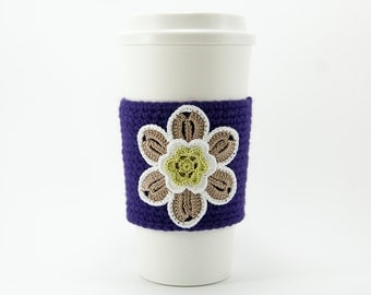 Coffee Cozy, Cup Cozy, Crocheted, Flower applique, Sleeve, Hot Cold Drink, taupe flower, chartreuse center, trimmed in cream, purple sleeve