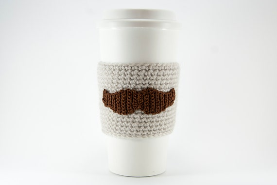 Hand crocheted coffee cosy cozy, brown mustache, natural linen sleeve, resuable coffee cuff