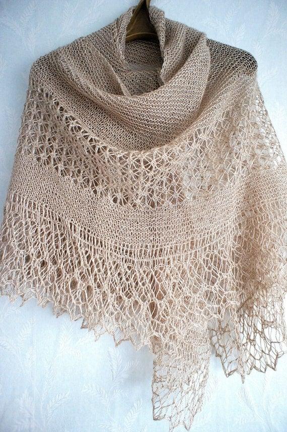 Hand knitted beige shetland lace shawl. Suri by FastMelodicShawls