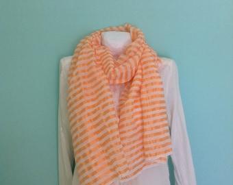 Scarf Vibrant Orange and white Hand-woven Gauze Cotton & silk scarves- Ethiopian scarf- summer Scarves wraps- Echarpe - Orange