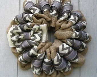 Contemporary Simple and Modern burlap wreath wall or door decor with gray chevron burlap and ribbon.