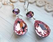 Pink Earrings Vintage Swarovski Crystal Earrings Pink Blush Earrings Purple Lilac Earrings Rhinestone Glamour Earrings Art Deco Earrings