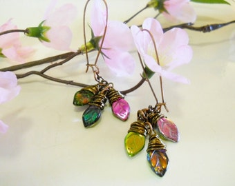 Earrings, Multi-colored Carved Glass Leaf, Czech Glass Leaf beads, Fire polished, Copper Kidney ear wires, hipster, BOHO, Imported