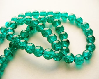Crackle Glass Beads Sea Green 8MM