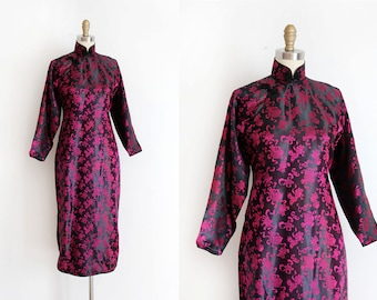 CLEARANCE vintage 1940s Cheongsam dress // 40s pink and black silk Qipao