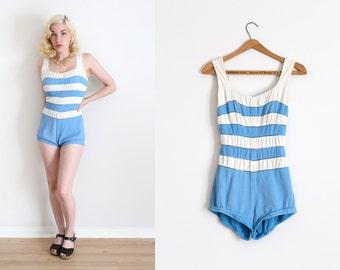 vintage 1950s swimsuit // 50s Rose Marie Reid striped bathingsuit