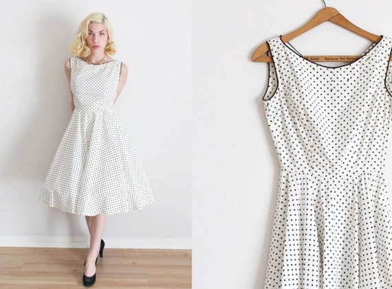 SALE / vintage 1960s dress // 60s cotton polka dot dress