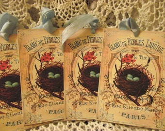 Paris Gift Tags Bird Nest Shabby Chic  Elegant Tags Scrapbooking  Colors Show Vibrant Well made Tags