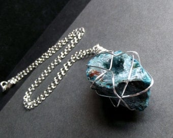 Blue Druzy Necklace:  Turquoise Blue Agate Long Chain Necklace, Silver Wire Wrapped Natural Gemstone Jewelry