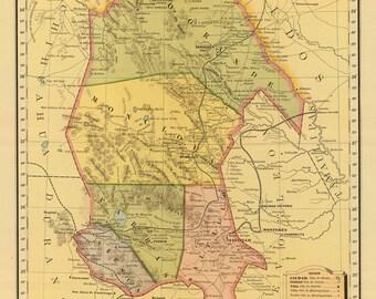 Vintage Map - Coahuila, Mexico 1885
