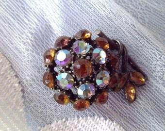 Vintage Rhinestone Brooch Pin Japanned Back Amber Aurora Borealis Dark Blues Pin
