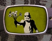 Storm Trooper Bouquet Star Wars Belt Buckle, Vintage Inspired, Geekery 611