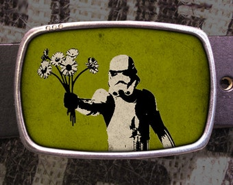 Storm Trooper Bouquet Star Wars Belt Buckle, Vintage Inspired, Geekery 611