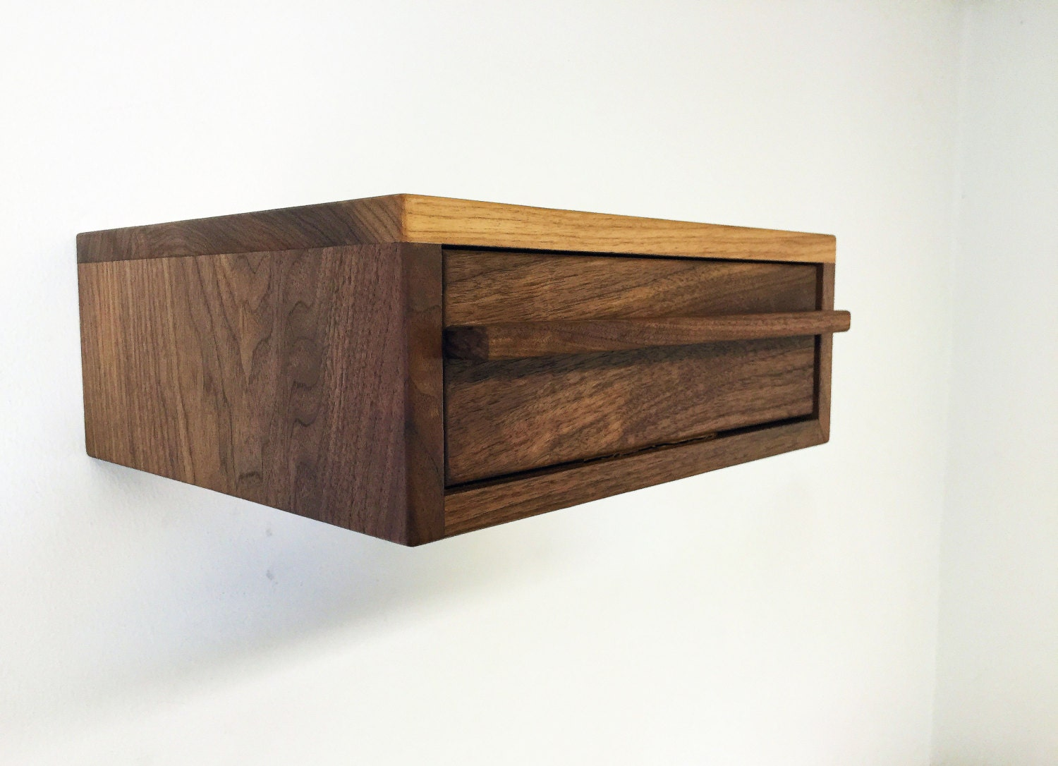 Modern floating nightstand solid walnut by pmistudios on etsy for Floating nightstand