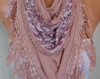 Dusty Pink Knitted Scarf,Fall Winter Fashion, Shawl,Cowl,Lace, Bridal Scarf,Gift Ideas For Her, Women Fashion Accessories, Best selling item