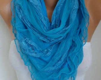 Blue Lace Scarf Shawl, Bridal Accessories, Bridesmaid Gifts, Gift Ideas For Her, Women Fashion Accessories,Spring Summer Scarf,Mother's Gift