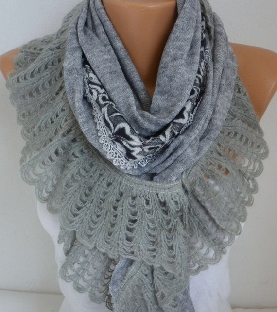 Gray Knitted Scarf,Winter Shawl Cowl Lace Oversize Bridesmaid Gift Bridal Accessories Gift Ideas For Her Women Fashion Accessories