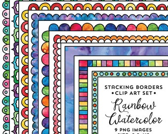 8.5x11 Rainbow Stacking Doodle Border Frame Set, Watercolor Frame Clipart, Colorful Watercolor, Instant Download