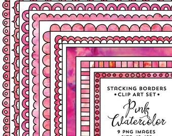 Square Border Frame Set, Pink Watercolor Frame Clipart, Pink Watercolor, Instant Download, Frame Clip Art, Border Clipart
