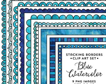 8.5x11 Blue Stacking Doodle Border Frame Set, Watercolor Frame Clipart, Colorful Watercolor, Instant Download