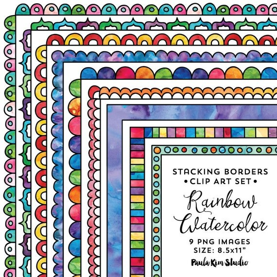 8 5x11 Rainbow Stacking Doodle Border Frame Set