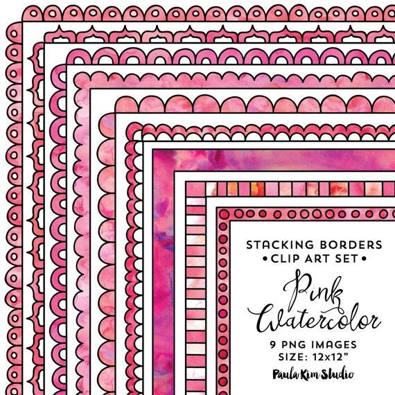 Square Border Frame Set, Pink Watercolor Frame Clipart, Pink ...