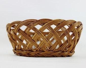 Vintage Woven Rattan Basket