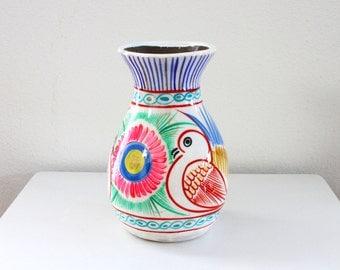 Mexican Folk Art Bird Ceramic Vase