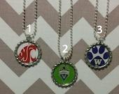 Sports Bottle Cap Necklace, U of W, WSU, Sounders, Football, Soccer