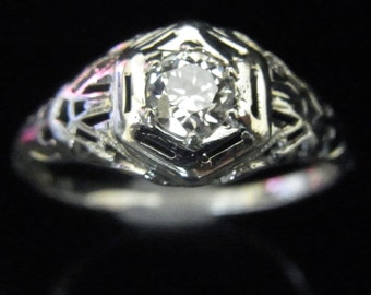 Art Deco Old European Cut Diamond 18k White Gold Engagement Ring Vintage Estate