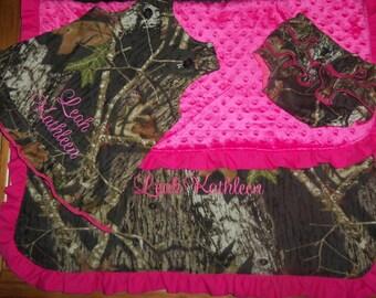 Fuchsia Minky and Camo Blanket,  Jumper, and ruffled diaper cover