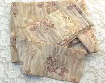 Japanese Silk Nagoya Obi, vintage, pinkish taupe, autumn floral design, blue reverse side, purchased in Japan, great for decorating