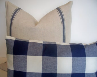 Blue Stripe Grainsack Look Pillow Cover Blue Stripe Grainsack Pillow Blue Farmhouse Pillow 1-10x16 1-12x18 1-18, alotm