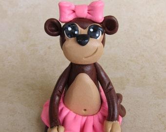 Astrid the Girly Monkey Birthday or Baby Shower Safari Animal Clay Cake Topper or Figurine